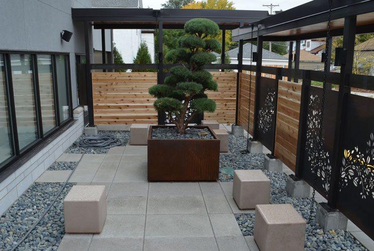 A decorative patio area