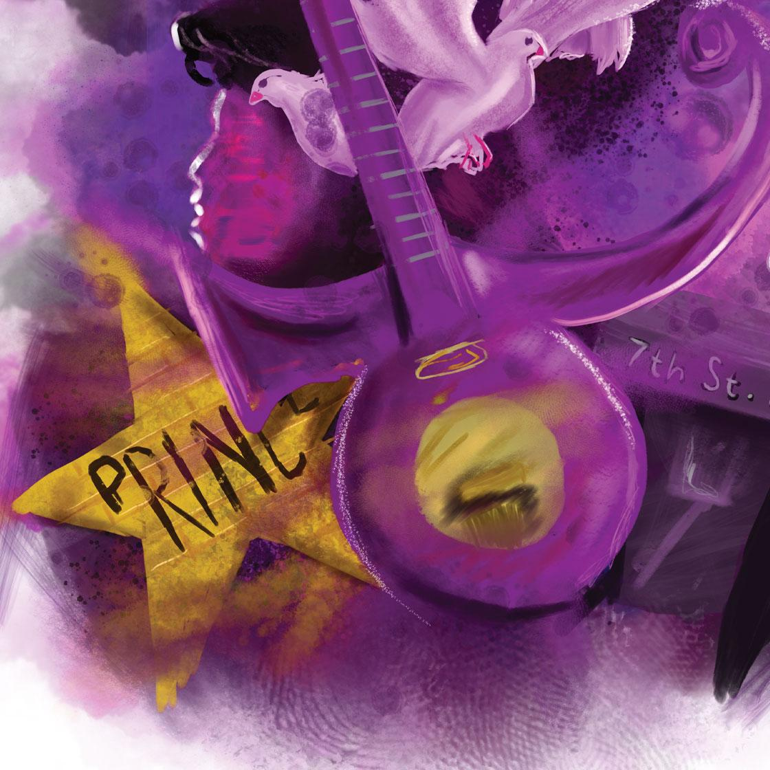 A graphically illustrated image of a purple guitar and the word Prince inside a golden star