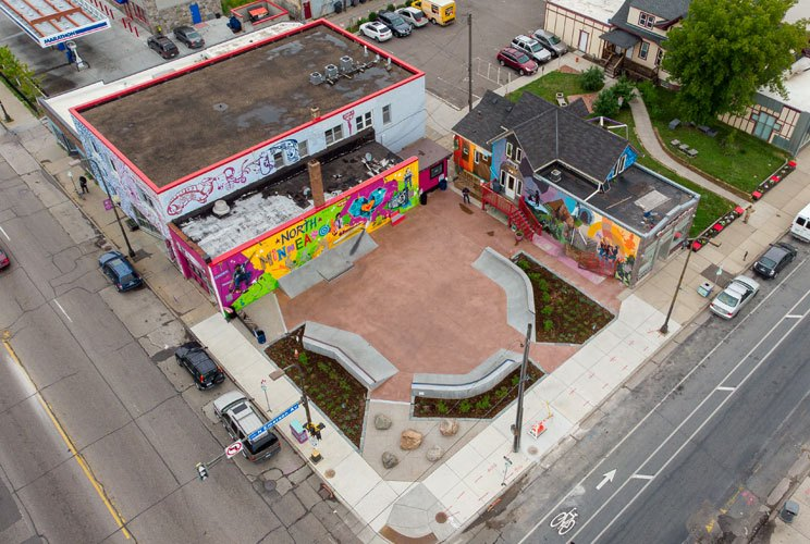 An aerial view of a skate-able plaza