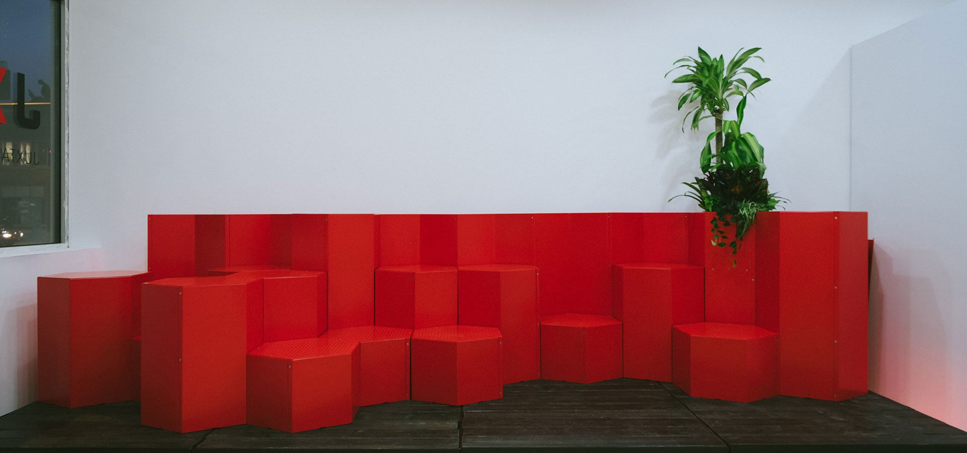 Custom seating in the Juxtaposition campus.