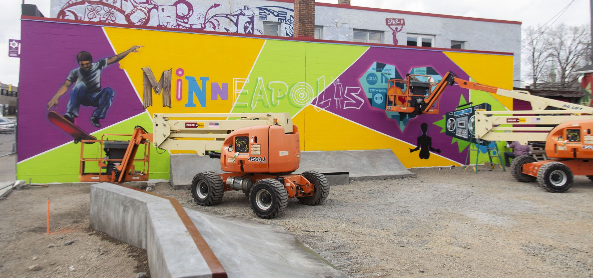 A mural painted in progress