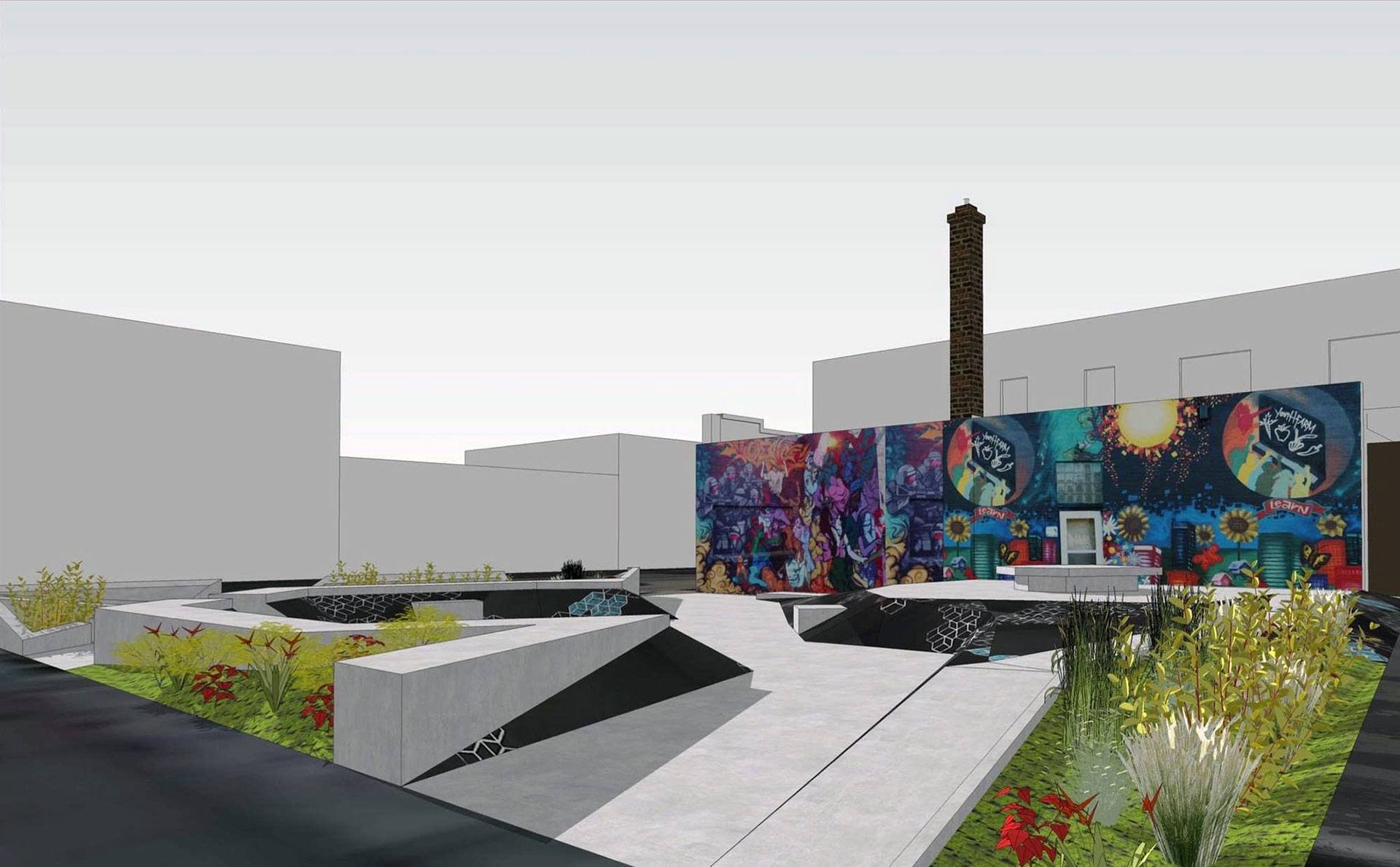 A digital rendering of a skate plaza