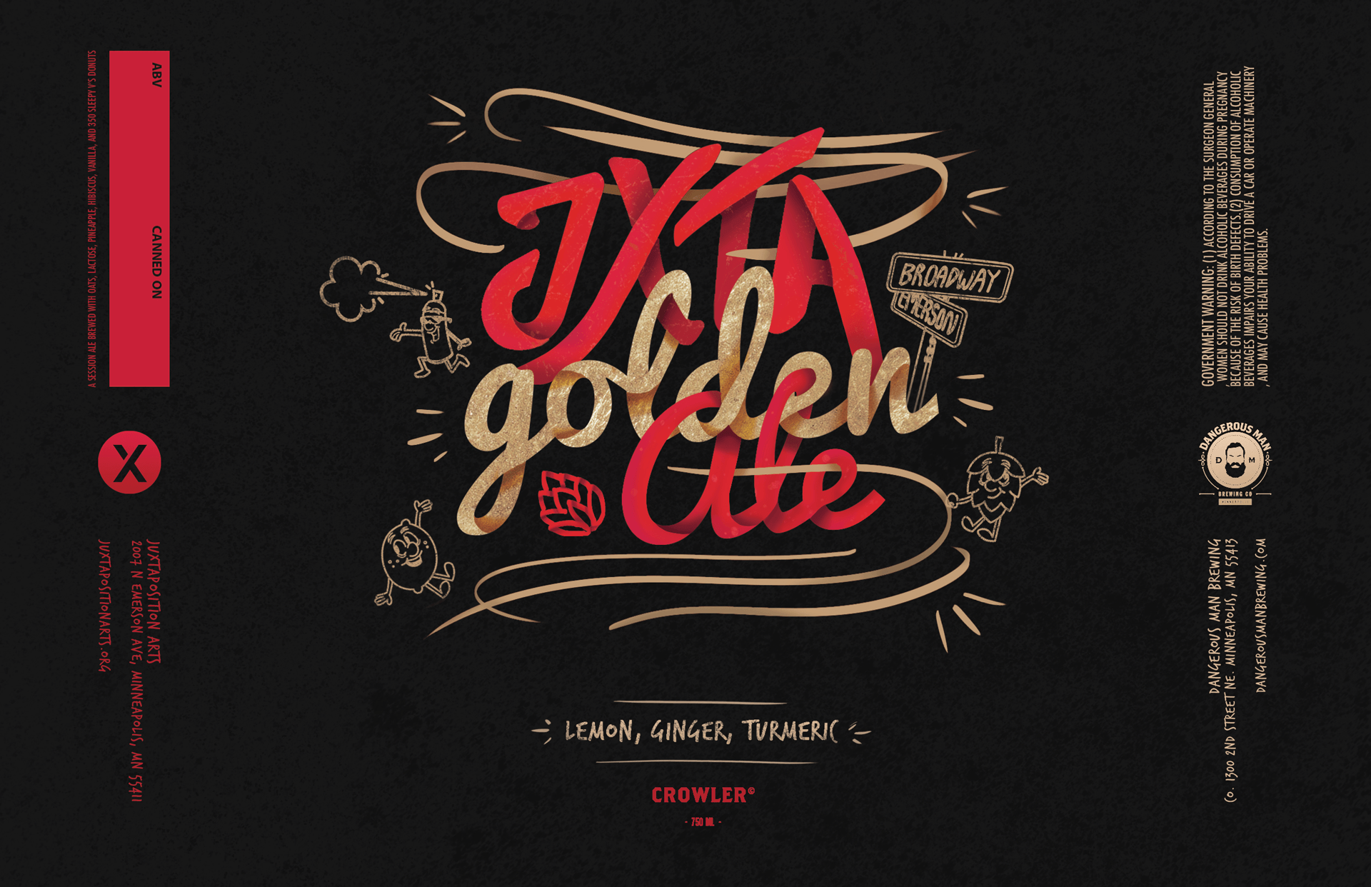 A digital rendering with the words JXTA golden ale illustratively designed