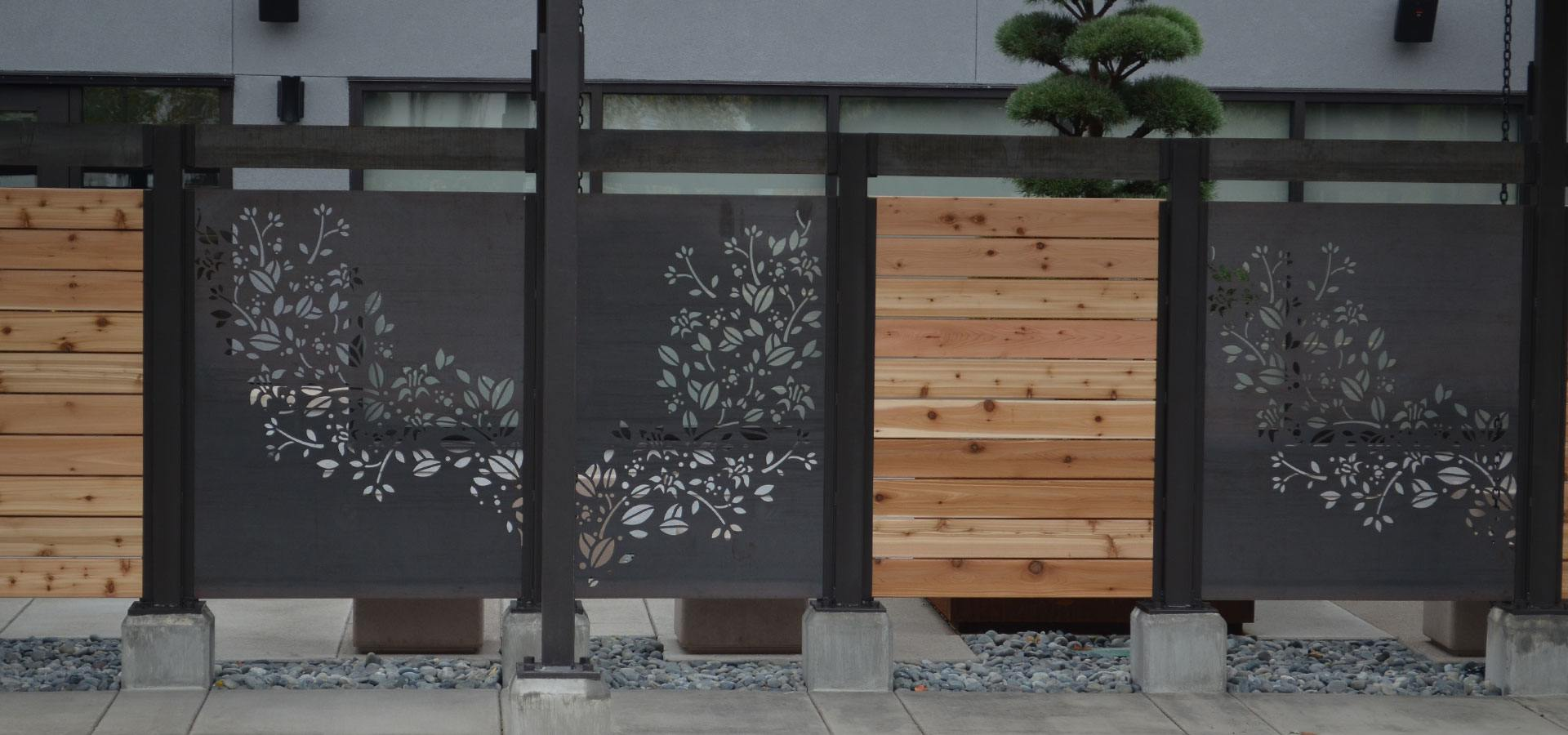 A decorative patio area fence