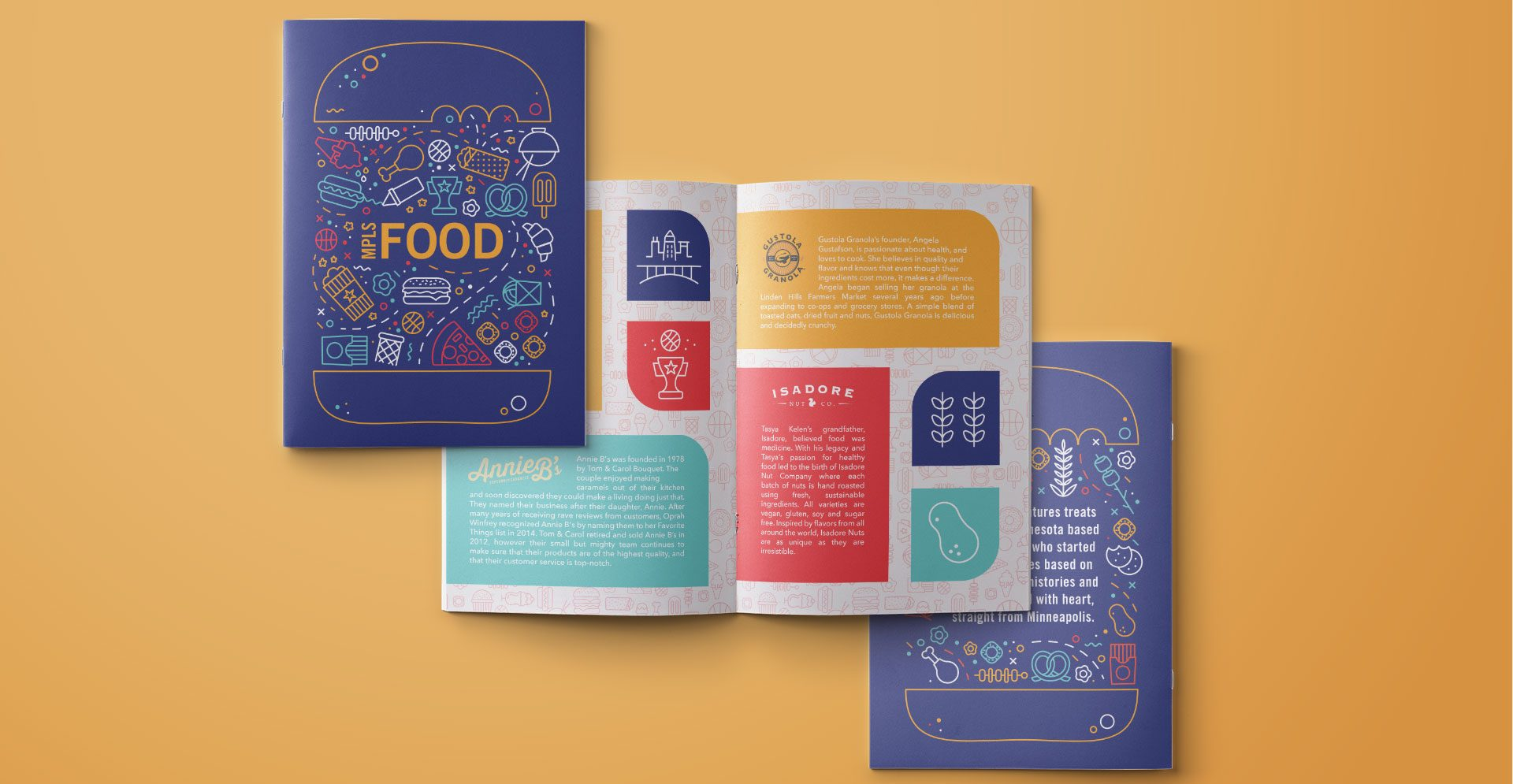 A mockup of a brochure about food