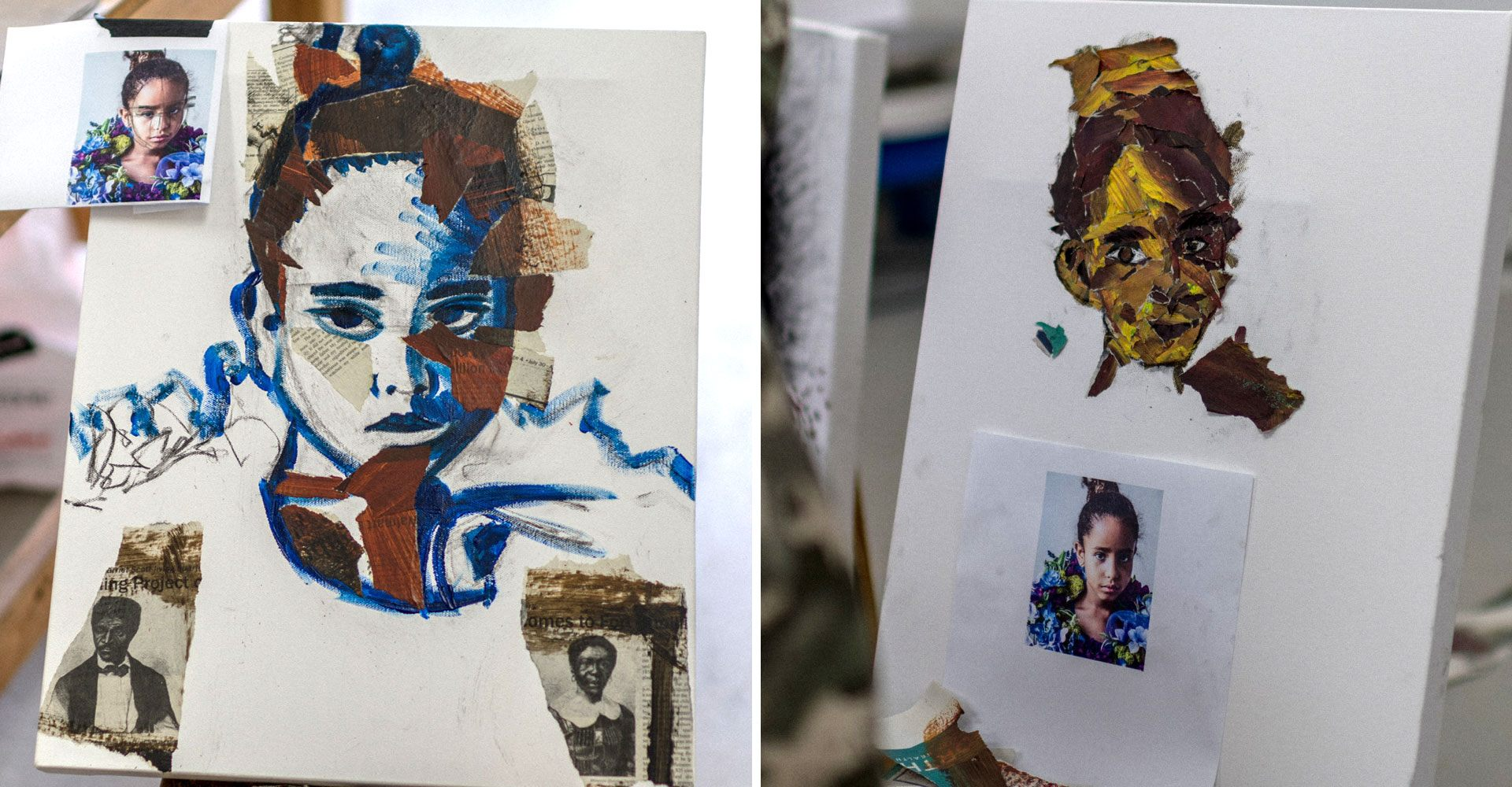 Two portrait multimedia works in progress
