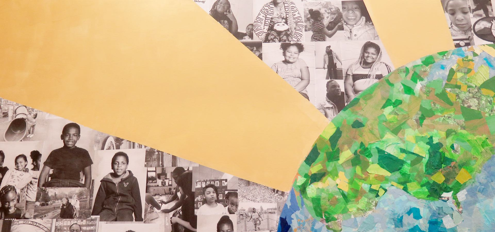 A multimedia mural of a radiating sun earth and collaged portraits of young people
