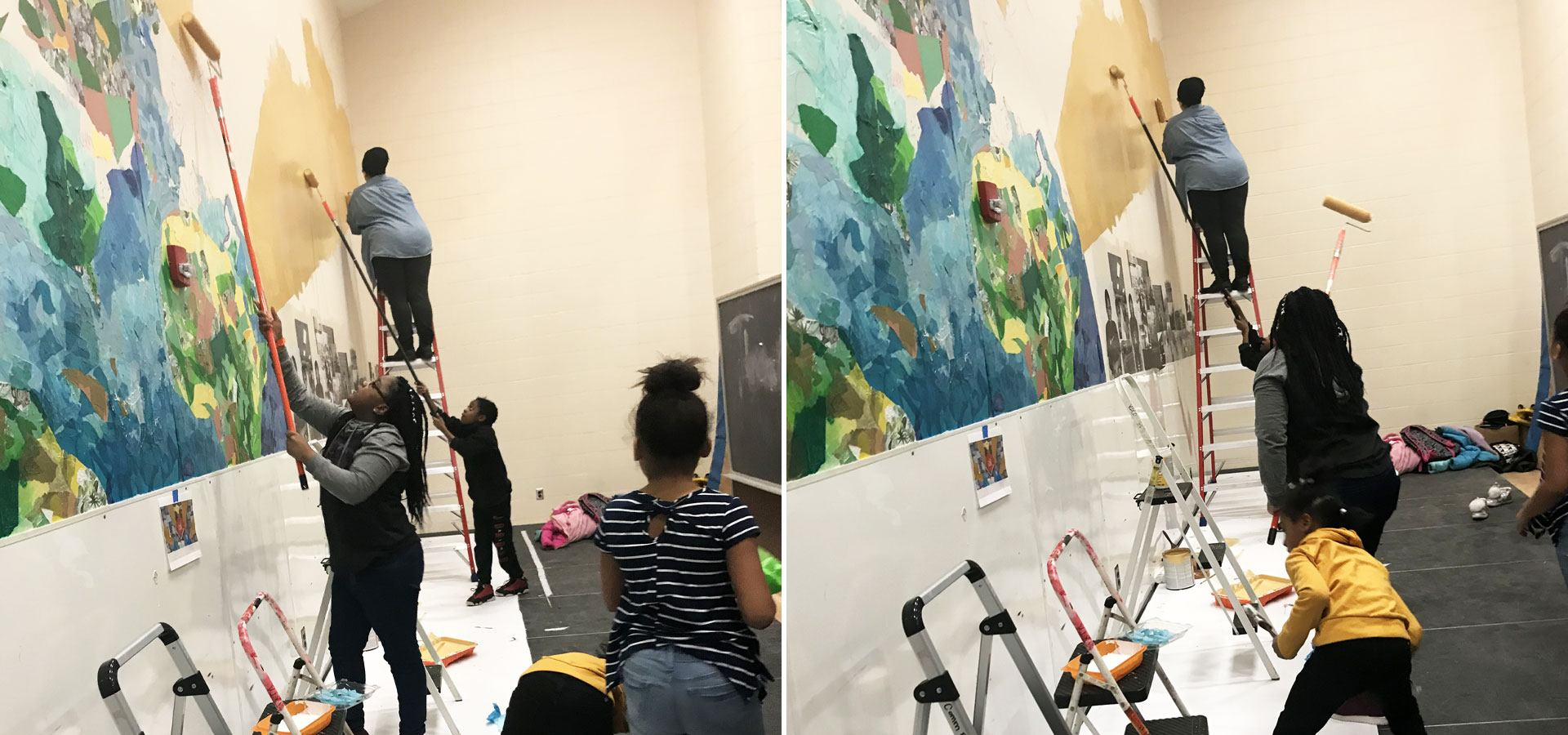 Young people working on a collaged multimedia mural