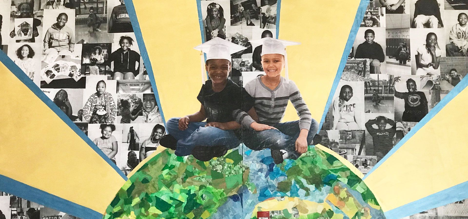 A collaged multimedia mural of an earth radiating rays and portraits of young people, with two students sitting on the earth