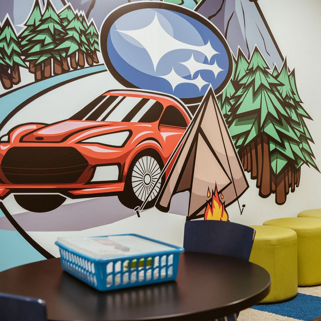 Example of graphically illustrated vinyl mural.