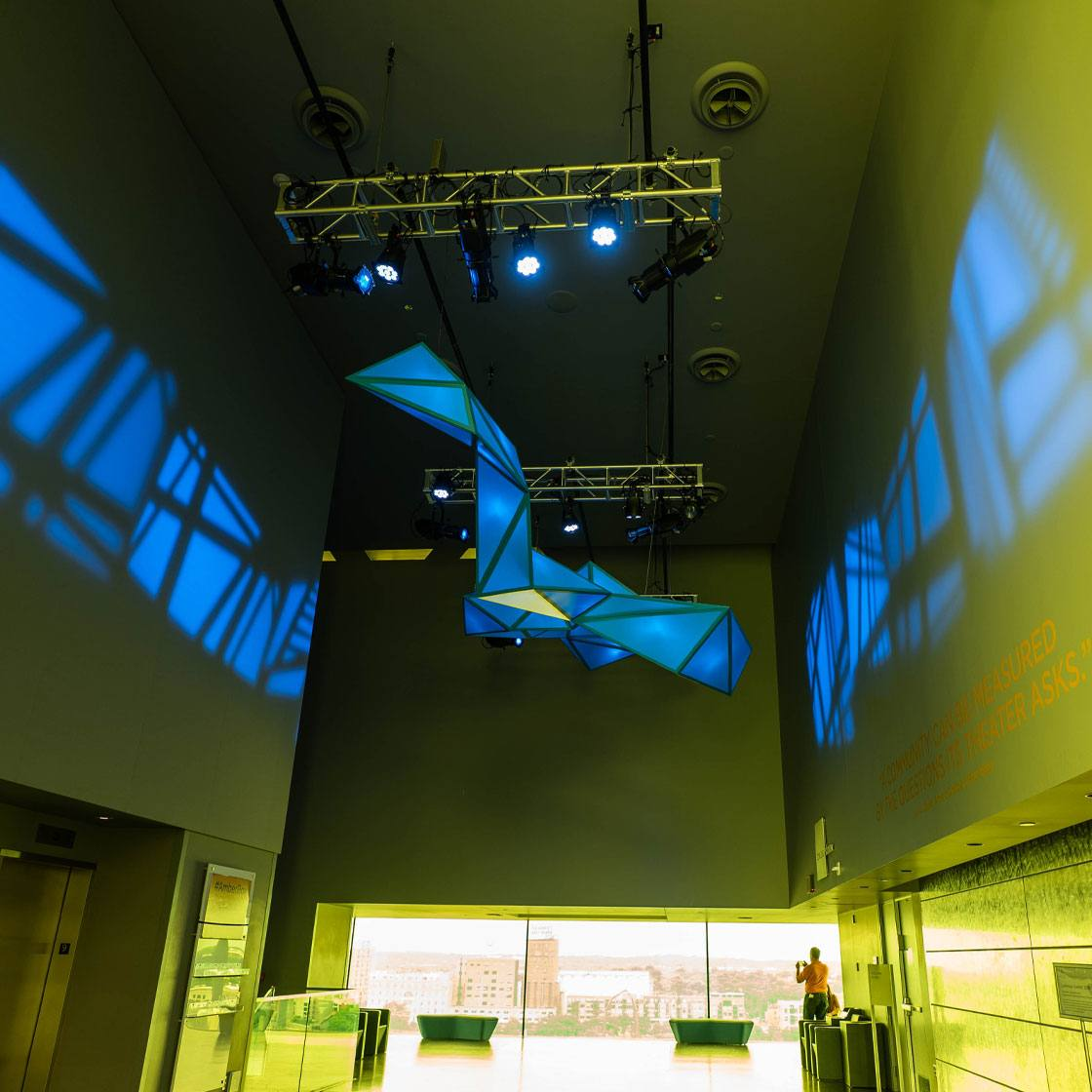 A large scale light based sculpture installation
