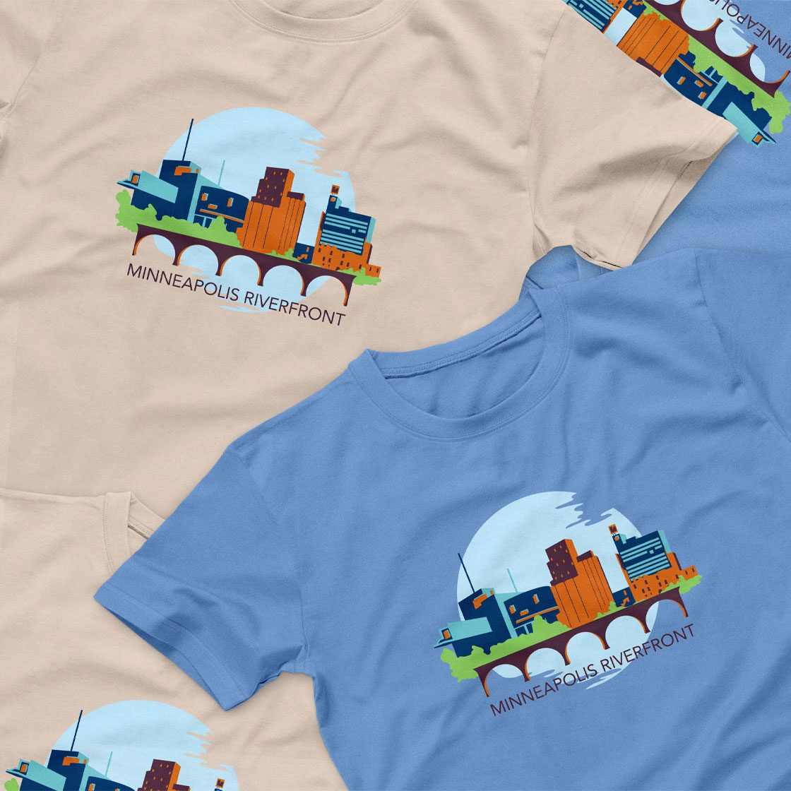 T shirts with an illustration of a skyline with the words minneapolis riverfront
