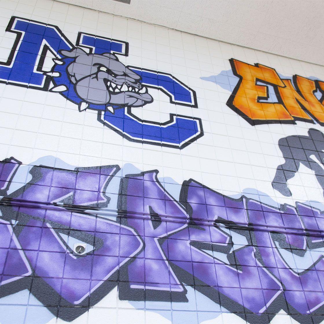 A closuep of a graffiti-style mural