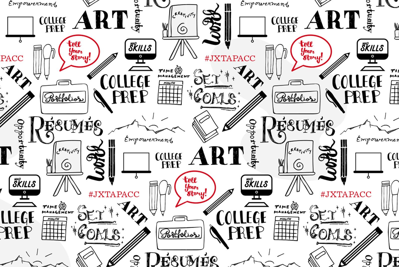 An illustration of different icons including pencils, notebooks, easels, computers, and the words art, college prep, set goals, art