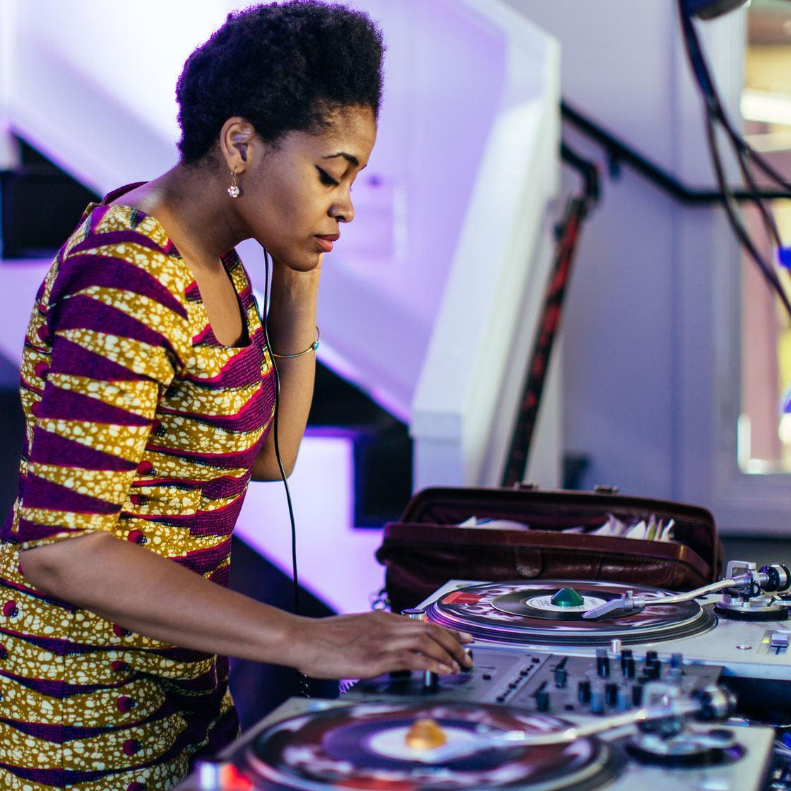 A DJ spinning
