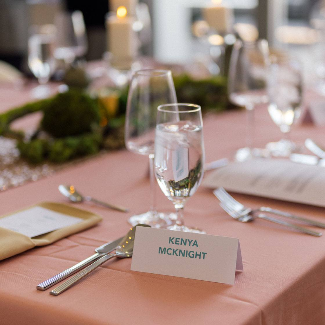 A table setting with the place name Kenya McKnight