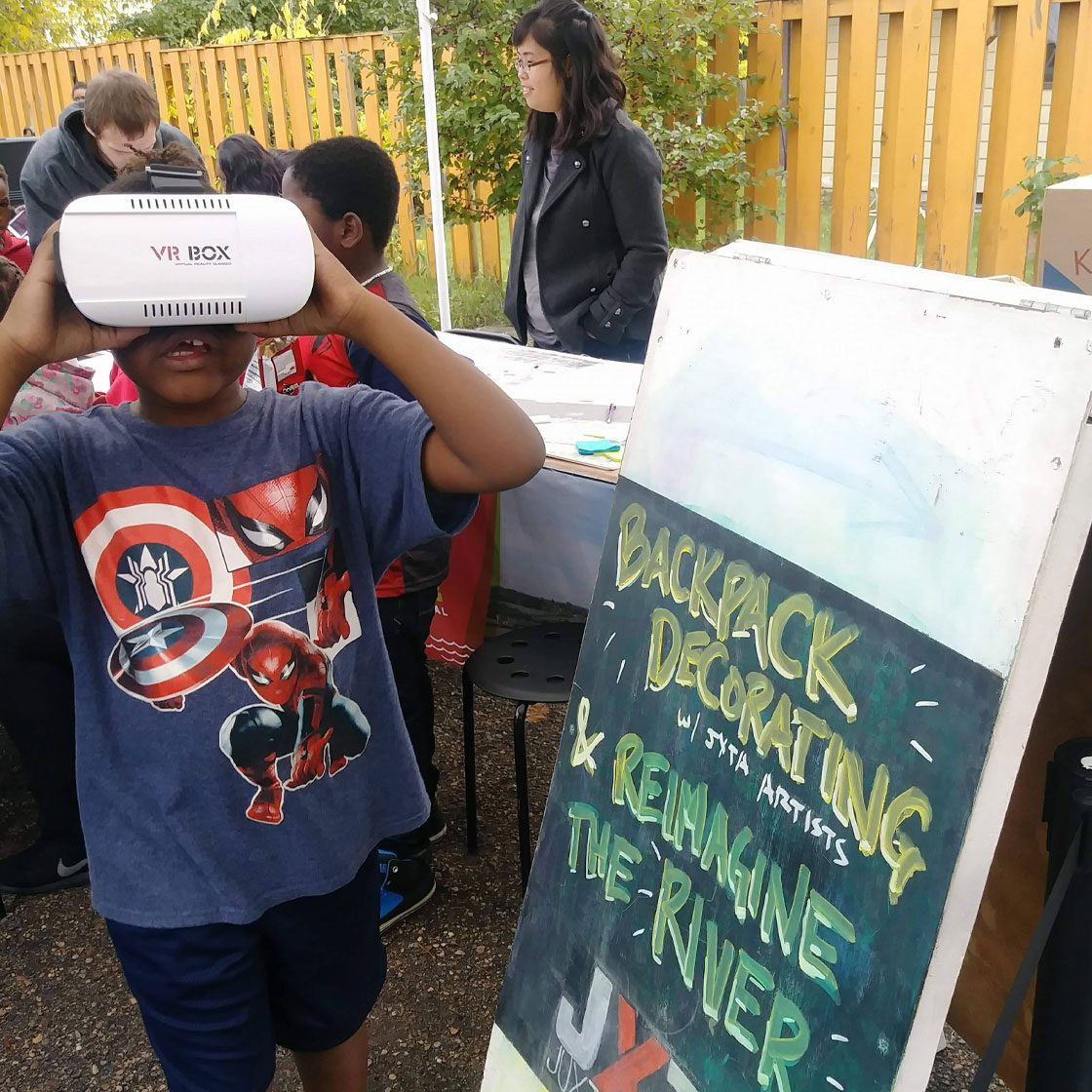 A young person using a VR headset