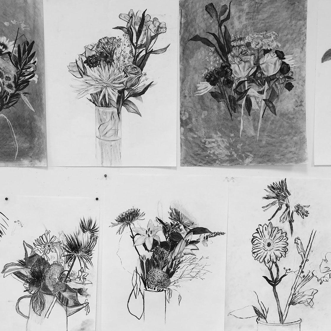 Sketches of floral arrangements