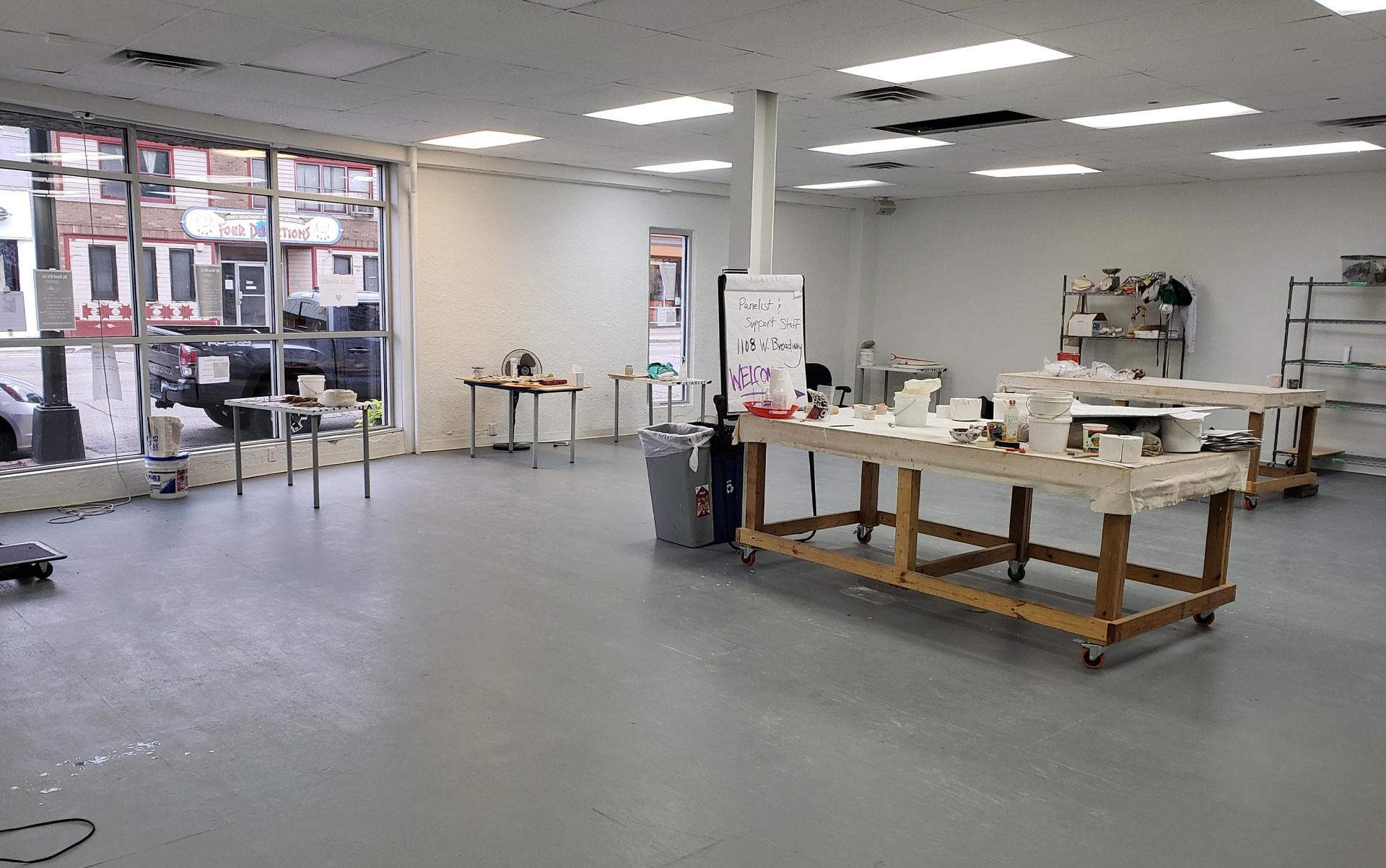 An empty, stark studio space