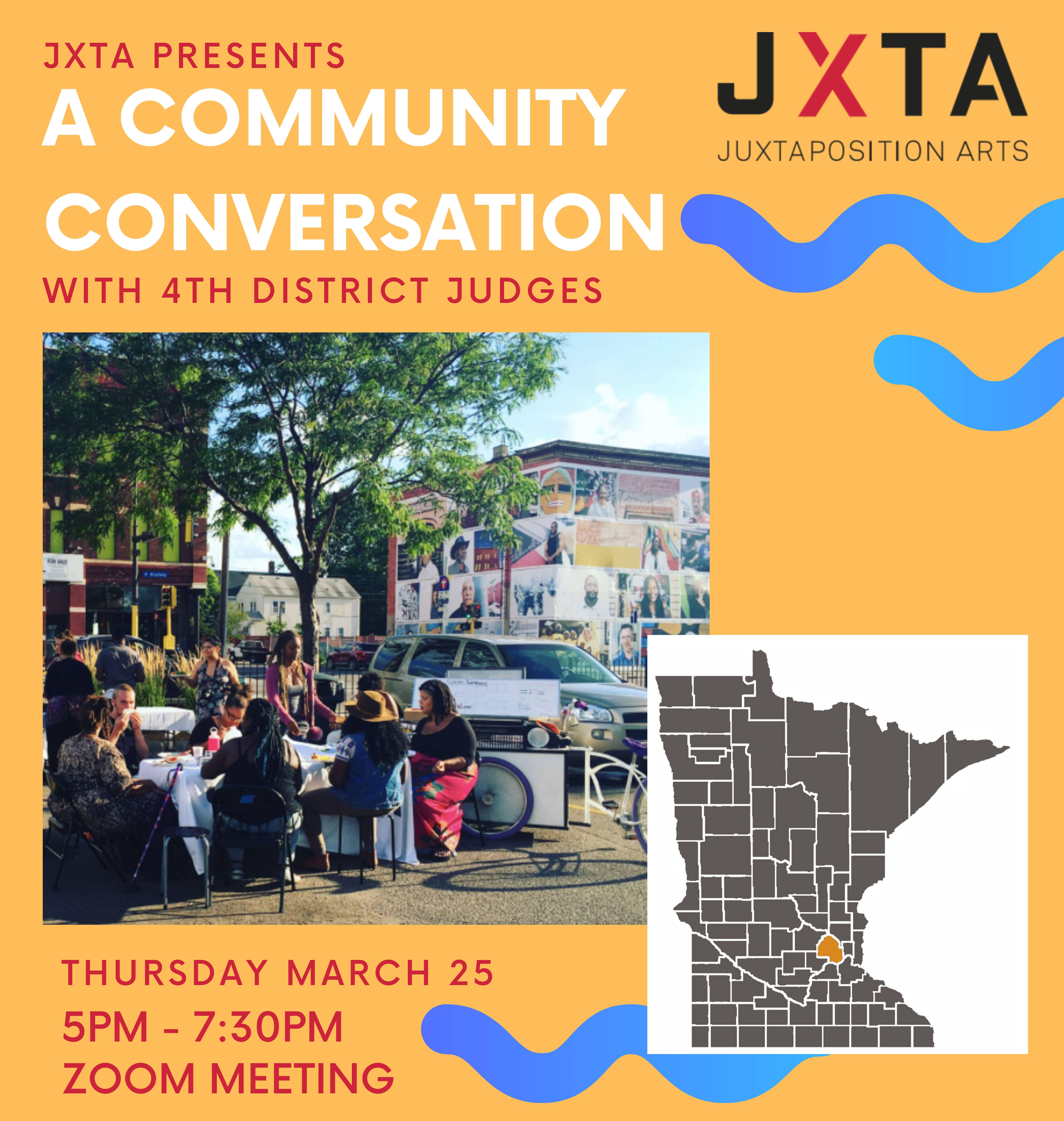 Flyer for 4th district judges community conversation