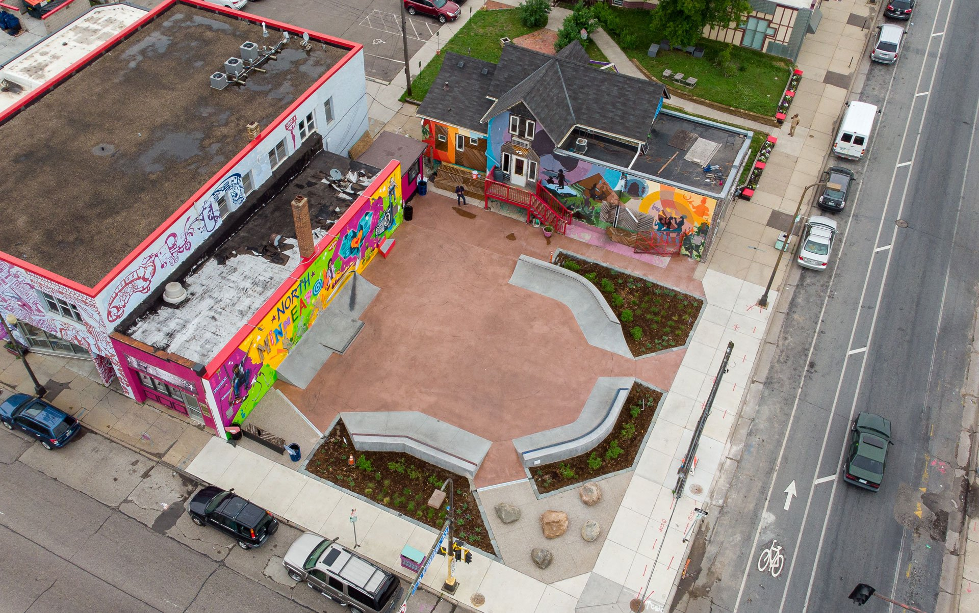 An aerial view of the skate-able art plaza